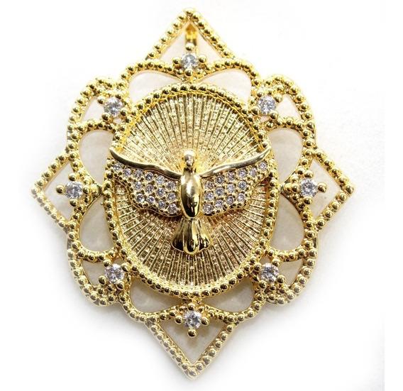 Pingente Para Cordão Divino Espírito Santo 2un Banhadas Ouro