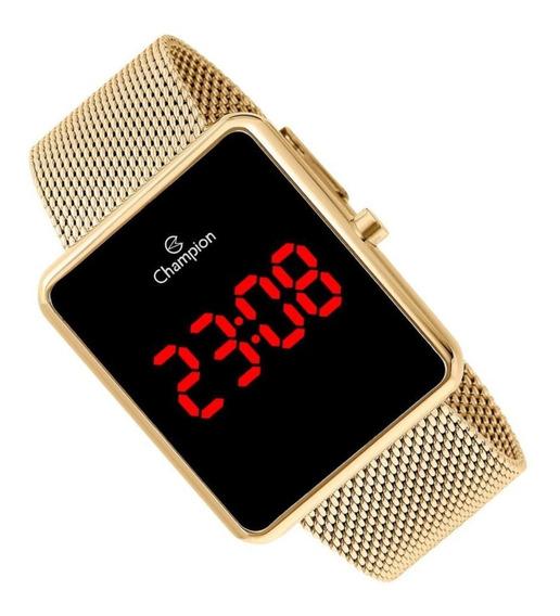 Relógio Digital Feminino Champion Dourado Ch40080v Quadradoo
