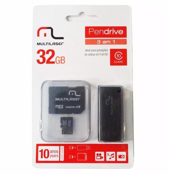 Cartão Multilaser 32gb + Adapt Sd + Pend Classe 10 Fuli Hd