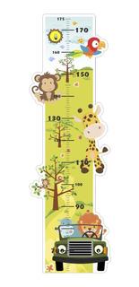 Adesivo Infantil Régua Crescimento Safari Bichos Leão Zoo