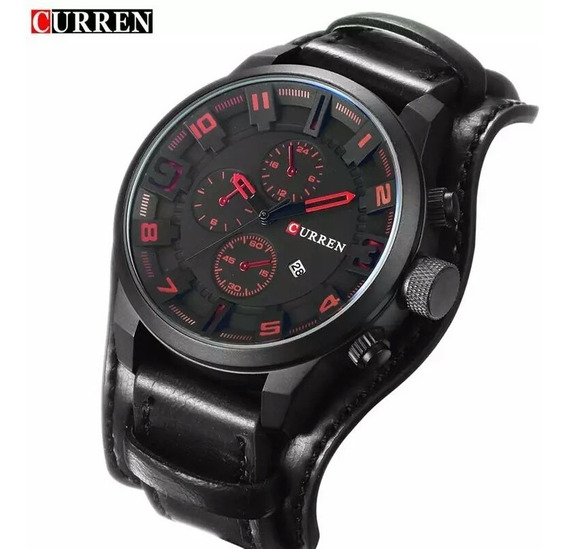 Relógio Curren 8225 Preto Social Luxo Couro Com Caixa