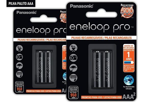 2 Cartelas De Pilhas Recarreg Eneloop Pro Palito Aaa Ct C/02