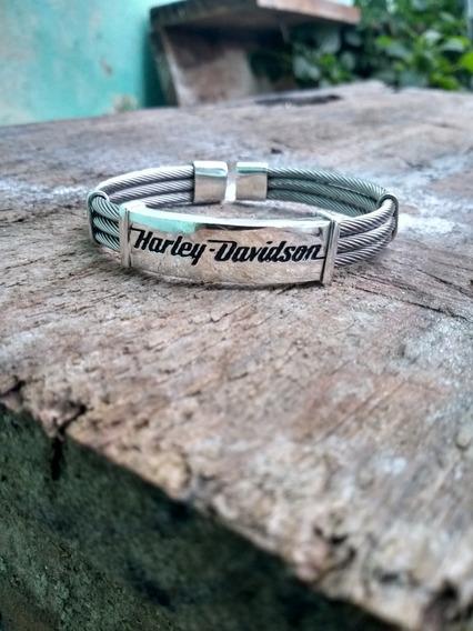 Bracelete Harley Davidson Aço Inoxidável Com Prata