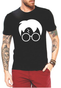 Camiseta Harry Potter Rosto Com Óculos E Cicatriz