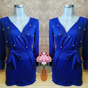 Vestido Azul, Perlas Dama 18 Envío Gratis