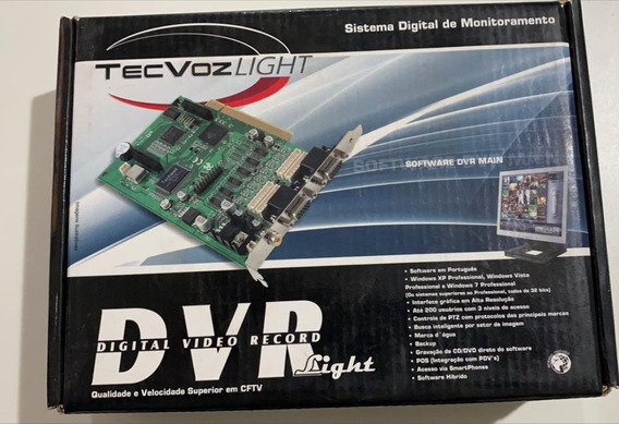 Placa Dvr 30/30 Fps 4 Canais Light Tecvoz Light