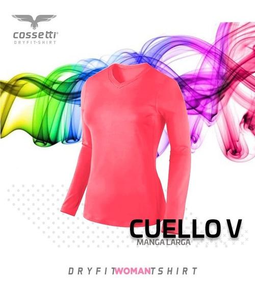 Playera Cuello V Cossetti Larga Dry Fit Colores Neón Xl 2xl
