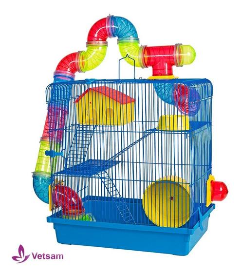 Gaiola Hamster 3 Andares Play Groud Mais Comedouro Azul