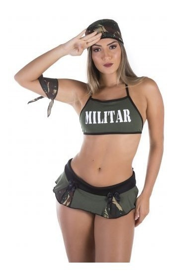 Fantasia Feminina Militar Lingeries Sexys Cabo 69 Oferta