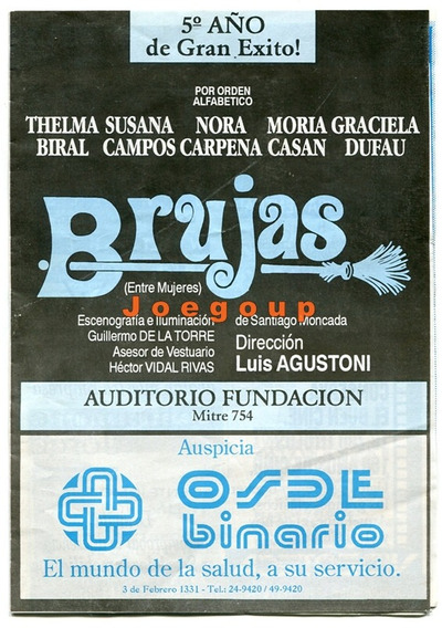 Programa Auditorio Fundacion Rosario Brujas Moria Casan