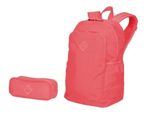 Kit Mochila Anti Furto + Estojo Coral Crinkle Sestini