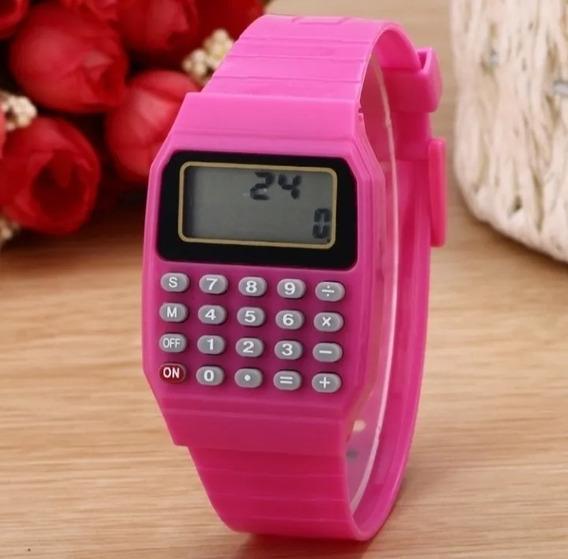 Relógio E Calculadora Feminino Quartzo Envio Hoje