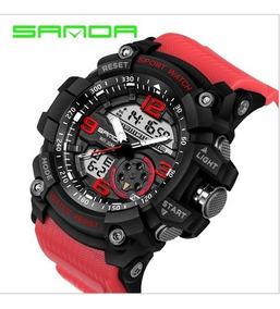 Relogio Sanda Dual Time Estilo G-shock Red 3 Atm Mega Oferta
