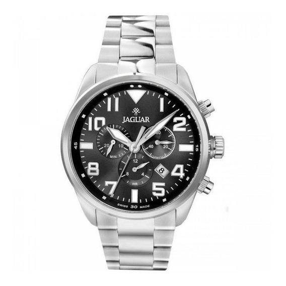 Relógio Jaguar J03cbss01 G2sx Mostrador Preto Pulseira Prata
