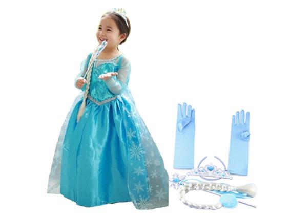 Vestido Da Frozen Elsa Fantasia + Luvas Coroa Varinha Trança