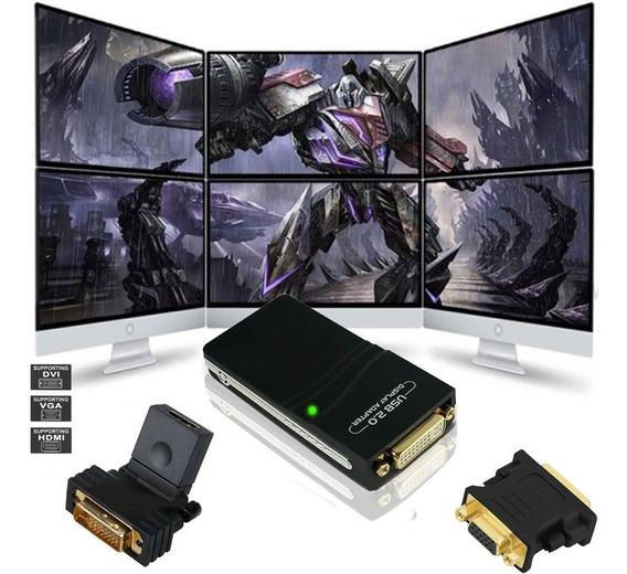 Adaptador Video Usb Multi Display Monitor Hdmi Dvi Vga