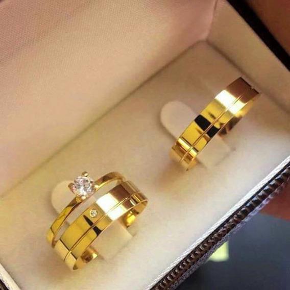 Par De Alianças 6mm Banhada Ouro 18k Casamento + Solitário