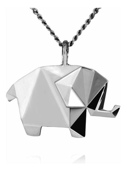 Dije Origami Elefante De Plata