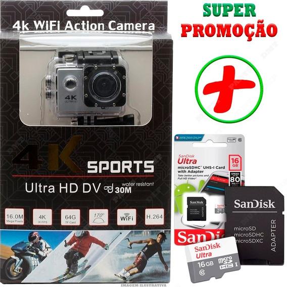 Câmera Action Cam Sport 4k Prova D´água + Card 16gb + Brinde