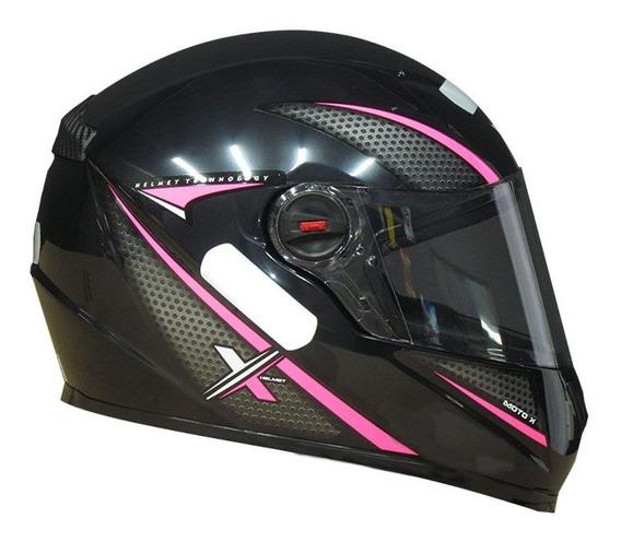 Capacete Feminino Moto Xhelmet Preto Brilhante Com Rosa Top