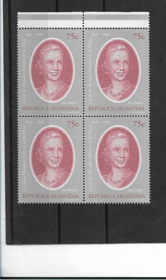 Estampillas 1997 Eva Perón Gj 2845 En Bloque De 4