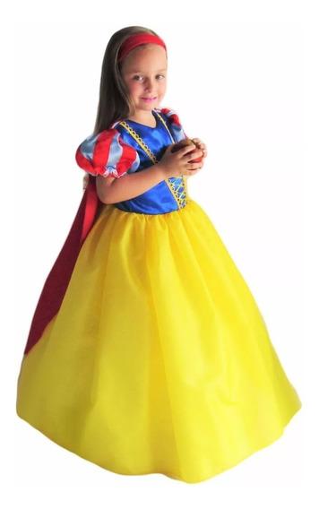 Vestido Princesa Branca De Neve Infantil Longo Armado E Capa
