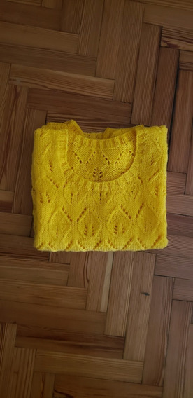 Sweater Tejido A Mano Color Maíz Impecable