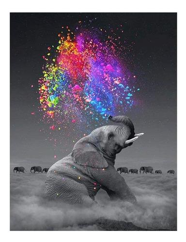 5d Diy Diamante Pintura Por Numero Kit Elefante Niños Adulto