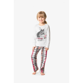 426164d29 Pijama Feminino Infantil Inverno Offwhite Coelho Malwee