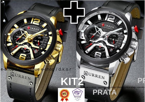 Kit2 Relógios Curren 8329 Azul Preto De Luxo 2019 Casual