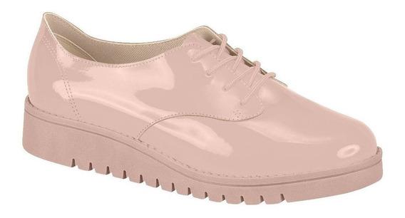 Tenis Oxford Sapato Feminino Tratorado Beira Rio Rosa Verniz