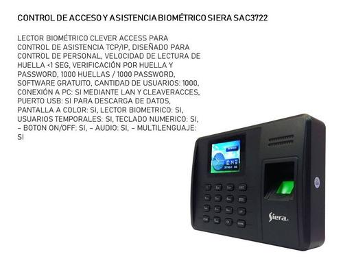 Control De Acceso Y Asistencia Biométrico Siera Sac3722