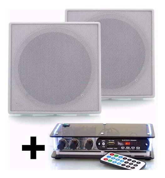 Kit Som Ambiente Amplificador Usb Fm Bluetooth + 2 Arandelas