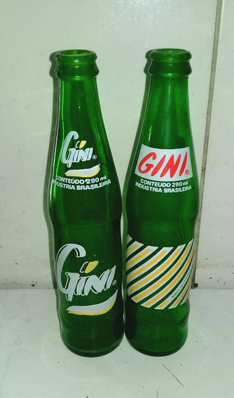 2 Garrafas Antigas De Refrigerante Gini 290ml