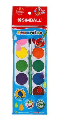 Imagen 1 de 4 de Acuarelas X 12 Colores Con Pincel Simball