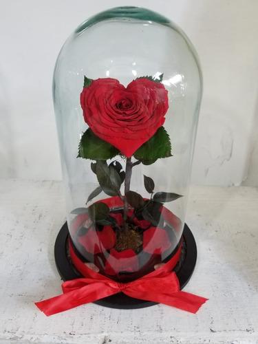 Rosas En Forma De Corazon Rosa Eterna En Cristal Mercado Libre