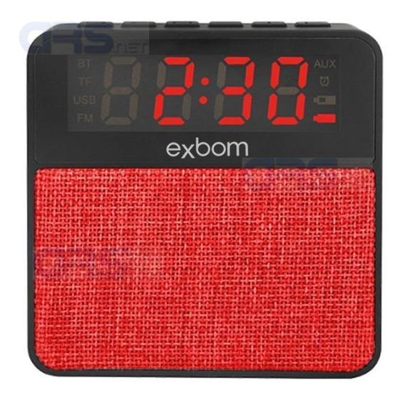 Caixa De Som Bluetooth Radio Fm Relógio Despertado Portátil