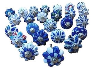 Conjunto De 25 Azul Y Pintado De Calabaza De Cerámica Cajón