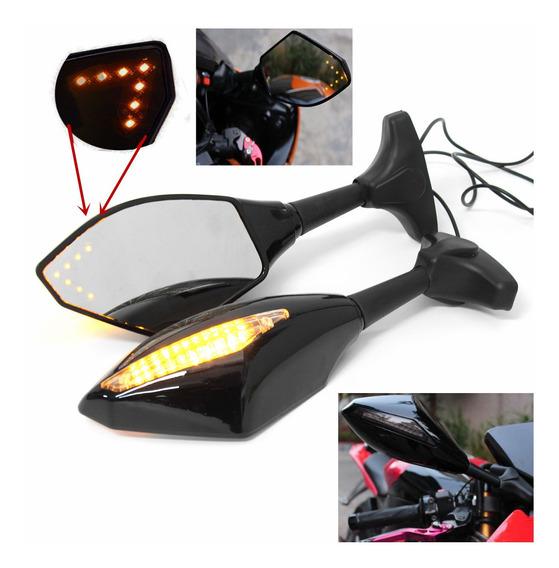Par Motocicleta Led Seta Turn Sinal Retrovisor Espelhos Para