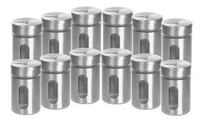 Kit Com 12 Porta Tempero Condimentos Potes De Vidro Inox