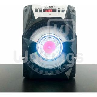 Parlante Portatil Bluetooth Ms-238 Bt Luces Radio Fm Usb Aux