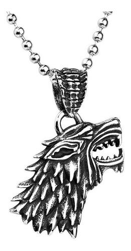 Collar Acero Inoxidable Game Of Thrones Lobo Stark Hombre