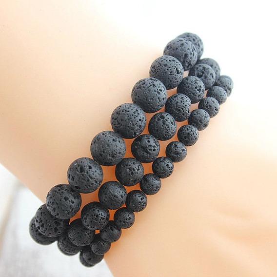 Bracelete Pulseira Masculina Pedra Vulcânica Original