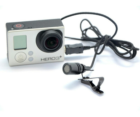 Microfone Gopro Hero 3 4 - Lapela + Adaptador Mini Usb