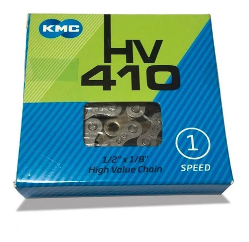 Imagen 1 de 1 de Cadena P/ Bici Kmc Hv410 Silver 1 /2 X 1/ 8 1 Vel
