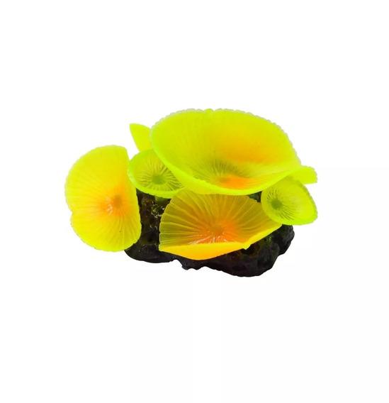 Enfeite Soma Coral Mushroom Giant Amarelo Ornamento Aquários