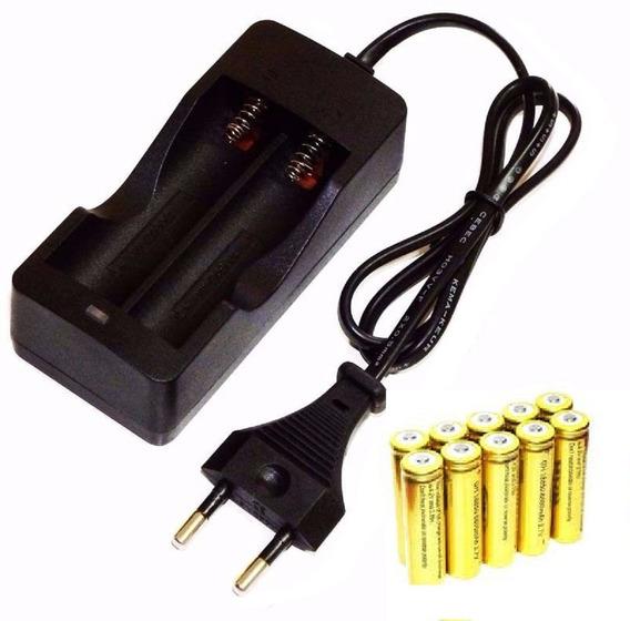Kit Carregador Duplo C/ Fio + 6 Bateria Li-ion 18650 4,2v 8800mah