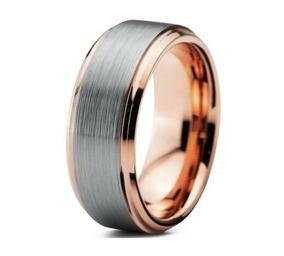 Aliança De Tungstenio Reta Escovada Prata Rose 8mm Calamária