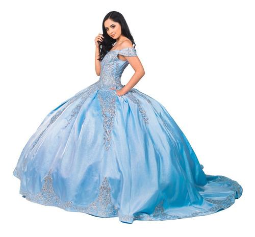 Imagen 1 de 10 de Vestido Quinceañera Glitter Aplicaciones Quince Años Xv