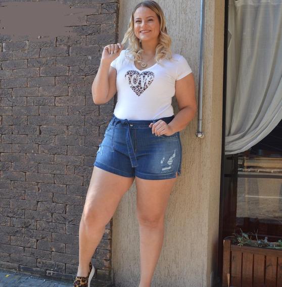 Shorts Sol Clochard Plus Hot Pants Com Cinto E Lycra Azul